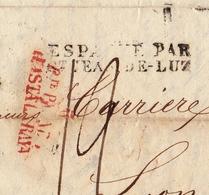 Lettre Espagne 1831 Madrid Pte PAGADO HASTA LA RAYA •Marque D'entrée En France ESPAGNE PAR St-JEAN-DE-LUZ - Spanje