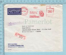 Danmark EMA - 1965 Meter Stamp, Luftpost Par Avion, Registered Sticker, Recommanderet Postmark - 1864-04 (Christian IX)