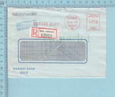 Norge - Norvege, Meter Stamp 1965, Oslo Sentum Registered Sticker, Luftpost Par Avion, Rekommandert Postmark, Send To Ca - Lettres & Documents