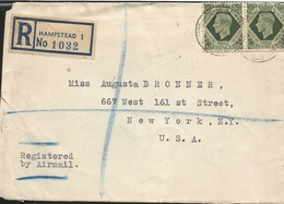 M) 1945, ENGLAND, AIR MAIL, NINE PENCE, REGISTERED, CIRCULATED COVER FROM ENGLAND, TO USA. - Europe (Other)
