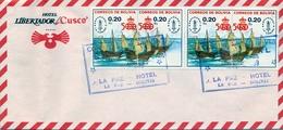 1989 , BOLIVIA , SOBRE CIRCULADO , ESPAMER 87 , CARABELAS DE CRISTOBAL COLÓN , DESCUBRIMIENTOS , BARCOS - Bolivia