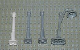 LEGO Lot 4 Lampadaire Réverbère Ref 11062 Blanc Et Gris Et Ref 4781 Gris - Lego Technic