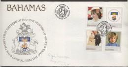 1982  Princess Diana 21st Birthday - Complete Set On Single FDC - Bahamas (1973-...)