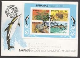 1982  Wildlife Issue:  Bat, Hutia, Racoon, Dolphins  - Souvenir Sheet On FDC - Bahamas (1973-...)