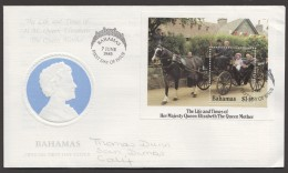 1984 Queen Mother 85th Birthday  -   Souvenir Sheet On FDC - Bahama's (1973-...)