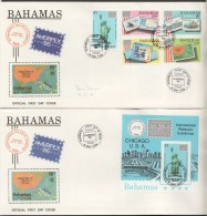 1986  AMEIPEX'86  Stamps On Stamps, Statue Of Liberty - Complete Set And Souvenir Sheet On 2 FDCs - Bahamas (1973-...)