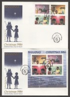 1986  Christmas Issue  Complete Set And Souvenir Sheet On 2 FDCs - Bahamas (1973-...)