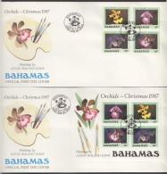 1987  Orchids  Complete Set And Souvenir Sheet On 2 FDCs - Bahamas (1973-...)