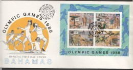 1988  Seoul Olympics  Souvenir Sheet On FDC - Bahamas (1973-...)