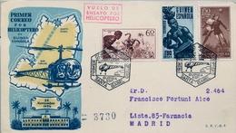 1956 , GUINEA ESPAÑOLA , PRIMER CORREO POR HELICÓPTERO EN GUINEA SANTA ISABEL - SAN CARLOS - Guinea Española