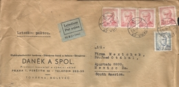 M) 1946, CZECHOSLOVAKIA, AIR MAIL, TREE STAMPS OF (1,20 K), ONE OF (60H) CIRCULATED COVER FROM CZECHOSLOVAKIA TO MEXICO. - Czechoslovakia