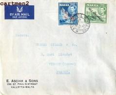 MALTE MALTA E. ASCIAK § SONS VALLETTA LETTRE TIMBRE SURCHARGE STAMP PHILATELIE MARCOPHILIE - Malta