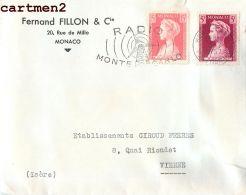 FERNAND FILLON §COMPAGNIE MONACO 20 RUE MILLO LETTRE TIMBRE STAMP PHILATELIE MARCOPHILIE - Monaco