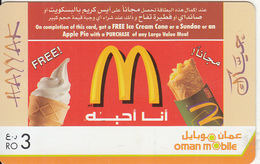 "OMAN - McDonald""s, Oman Mobile Recharge Card R.O.3, Exp.date 31/1208, Used - Oman"
