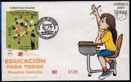 Upaep Ecuador HB 146 2007 Construir Un País SPD FDC Sobre Primer Día - Postzegels