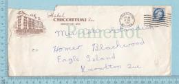 "Canada - Commercial Envelope "" Hotel Chicoutimi Quebec"", Send To Knowlton Quebec - 1952-.... Règne D'Elizabeth II"