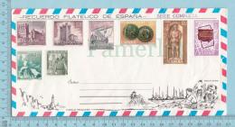 Espana - 11968 Seria Completa, Recuerdo Filatelico De Espana, + Cala San Vicente At Back, Air Mail Envelope - 1931-Aujourd'hui: II. République - ....Juan Carlos I