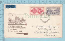 Ceskoslovensko - 1958  Letadlen, FDC, 4 Stamps 2 In Front & 2 At Back - Tchécoslovaquie