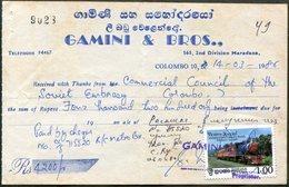Sri Lanka 1986 Postage Stamp TRAIN Used As Revenue On Receipt USSR Embassy Document Railway Steam Locomotive Fiscal Tax - Trains