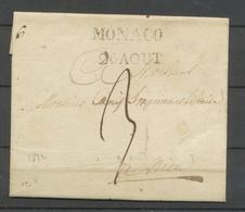 1822 Lettre Marque MONACO + 26 AOUT Superbe. RARE. X2722 - Marcophilie (Lettres)