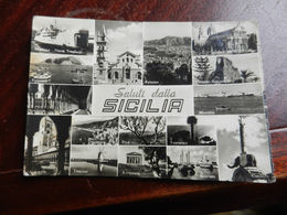 17104) SALUTI DALLA SICILIA 16 VEDUTE VIAGGIATA 1955 BOLLO STRAPPATO - Sin Clasificación