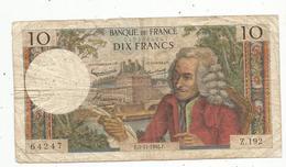 Billet , Dix Francs , 10 , VOLTAIRE , 5-11-1965, 2 Scans - 1962-1997 ''Francs''