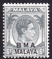 Malaya B.M.A  SG 6a 1945 British Military Administration, 6c Grey, Mint Never Hinged - Malaya (British Military Administration)