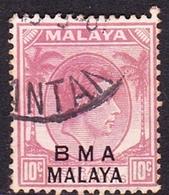 Malaya B.M.A  SG 9 1945 British Military Administration, 10c Purple, Used - Malaya (British Military Administration)
