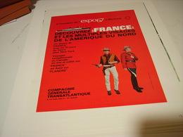 ANCIENNE PUBLICITE EXPO A MONTREAL AVEC LE PAQUEBOT FRANCE 1967 - Publicité