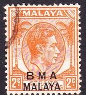 Malaya B.M.A SG 2 1945 British Military Administration, 2c Orange, Used - Malaya (British Military Administration)