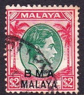 Malaya B.M.A SG 16 1945 British Military Administration, $ 2.00 Green And Scarlet, Used - Malaya (British Military Administration)