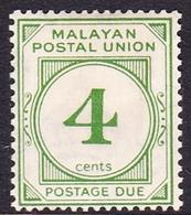Malayan Postal Union D2 1936 Postage Due 4c Green, Mint Hinged - Malayan Postal Union