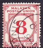 Malayan Postal Union D3 1936 Postage Due 8c Scarlet, Used - Malayan Postal Union