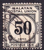 Malayan Postal Union D6 1936 Postage Due 50c Black, Used - Malayan Postal Union