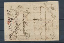 1835 Lettre Cursive 51 LA GRAVELLE Ayant Voyagé 2fois Avec La Même Cursive P4265 - Postmark Collection (Covers)