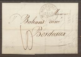 1838 Lettre CAD Type 12 Mulhausen HAUT-RHIN(66) Superbe X1591 - Marcophilie (Lettres)