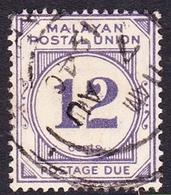 Malayan Postal Union D20 1951 Postage Due 12c Pale Bright Purple, Used - Malayan Postal Union