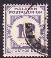 Malayan Postal Union D20 1951 Postage Due 12c Pale Bright Purple, Used - Malaya (British Military Administration)