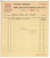 Invoice * Portugal * 1933 * Porto * Papelaria Tipografia Azevedo * Holed - Portugal