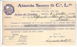 Credit Note * Portugal * 1933 * Porto * Almeida Santos & Cª Lda * Holed - Portugal