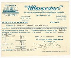Receipt * Portugal * 1939 * Lisboa * Companhia De Seguros ''Ultramarina'' * Holed - Portugal