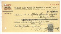 Receipt * Portugal * 1933 * Porto * Papelaria Tipografia Azevedo * Holed - Portugal