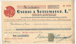 Receipt * Portugal * 1941 * Porto * Só-indústria * Osório & Sottomayor, Lda * Holed - Portugal