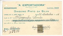 Receipt * Portugal * 1944 * Porto * ''A Exportadora'' Diaquino Pinto Da Silva * Holed - Portugal