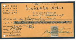 Receipt * Portugal * 1944 * Porto * Benjamim Vieira * Holed - Portugal
