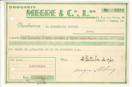 Receipt * Portugal * 1940 * Porto * Drogaria Megre & Cª Lda * Holed - Portugal