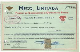 Receipt * Portugal * 1943 * Lisboa * Meco, Limitada * Holed - Portugal