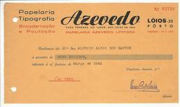 Receipt * Portugal * 1940 * Porto * Papelaria Tipografia Azevedo * Holed - Portugal