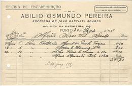 Invoice * Portugal * 1931 * Porto * Abilio Osmundo Pereira * Oficina De Encadernação * Holed - Portugal