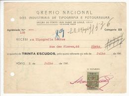 Receipt * Portugal * 1941 * Porto * Grémio Nacional * Holed - Portugal
